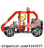 Yellow Doctor Scientist Man Riding Sports Buggy Side View