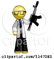 Yellow Doctor Scientist Man Holding Automatic Gun