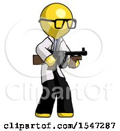 Yellow Doctor Scientist Man Tommy Gun Gangster Shooting Pose