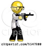 Yellow Doctor Scientist Man Shooting Automatic Assault Weapon