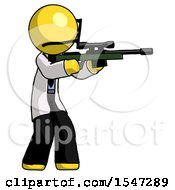 Yellow Doctor Scientist Man Shooting Sniper Rifle