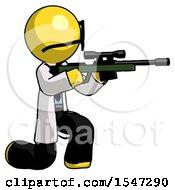 Yellow Doctor Scientist Man Kneeling Shooting Sniper Rifle