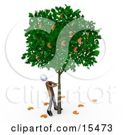 Greedy Businessman Shaking Money Off Of A Tree That Grows Euros Clipart Illustration Image