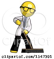Yellow Doctor Scientist Man Cleaning Services Janitor Sweeping Floor With Push Broom