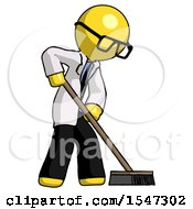 Yellow Doctor Scientist Man Cleaning Services Janitor Sweeping Side View