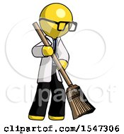 Yellow Doctor Scientist Man Sweeping Area With Broom