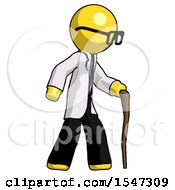 Yellow Doctor Scientist Man Walking With Hiking Stick
