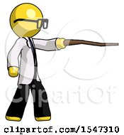 Yellow Doctor Scientist Man Pointing With Hiking Stick