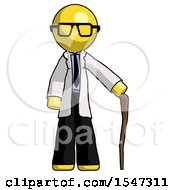 Yellow Doctor Scientist Man Standing With Hiking Stick