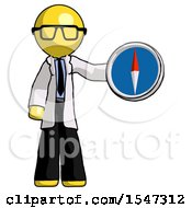 Yellow Doctor Scientist Man Holding A Large Compass
