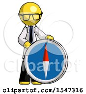 Yellow Doctor Scientist Man Standing Beside Large Compass