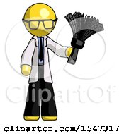 Yellow Doctor Scientist Man Holding Feather Duster Facing Forward