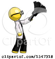 Yellow Doctor Scientist Man Dusting With Feather Duster Upwards
