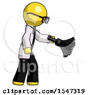 Yellow Doctor Scientist Man Dusting With Feather Duster Downwards