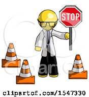 Yellow Doctor Scientist Man Holding Stop Sign By Traffic Cones Under Construction Concept