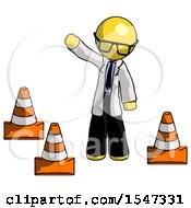 Yellow Doctor Scientist Man Standing By Traffic Cones Waving