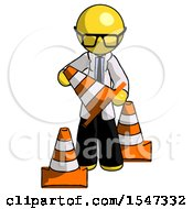 Yellow Doctor Scientist Man Holding A Traffic Cone