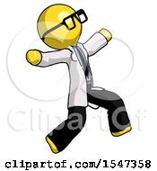 Yellow Doctor Scientist Man Running Away In Hysterical Panic Direction Right