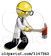 Yellow Doctor Scientist Man With Ax Hitting Striking Or Chopping
