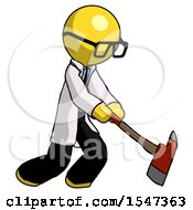 Yellow Doctor Scientist Man Striking With A Red Firefighters Ax