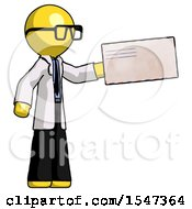 Yellow Doctor Scientist Man Holding Large Envelope