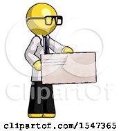 Yellow Doctor Scientist Man Presenting Large Envelope