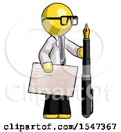 Yellow Doctor Scientist Man Holding Large Envelope And Calligraphy Pen