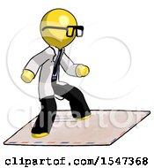 Yellow Doctor Scientist Man On Postage Envelope Surfing