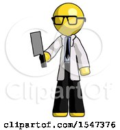 Yellow Doctor Scientist Man Holding Meat Cleaver