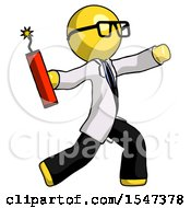 Yellow Doctor Scientist Man Throwing Dynamite