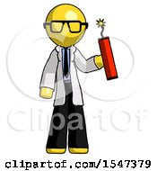 Yellow Doctor Scientist Man Holding Dynamite With Fuse Lit