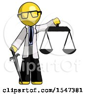 Yellow Doctor Scientist Man Justice Concept With Scales And Sword Justicia Derived