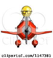 Yellow Doctor Scientist Man In Geebee Stunt Plane Front View