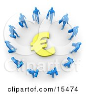 Group Of Blue Businessmen Carrying Briefcases Standing In A Circle Around A Euro Sign Clipart Illustration Image