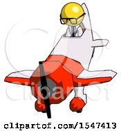 Yellow Doctor Scientist Man In Geebee Stunt Plane Descending Front Angle View