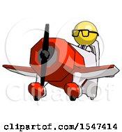 Yellow Doctor Scientist Man Flying In Geebee Stunt Plane Viewed From Below