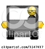 Yellow Doctor Scientist Man Driving Amphibious Tracked Vehicle Front View