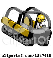 Yellow Doctor Scientist Man Driving Amphibious Tracked Vehicle Top Angle View