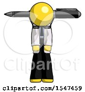 Yellow Doctor Scientist Man Head Impaled With Pen