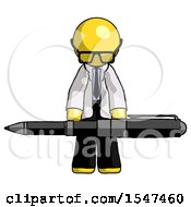 Yellow Doctor Scientist Man Weightlifting A Giant Pen