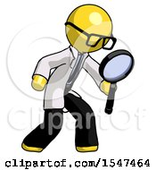 Yellow Doctor Scientist Man Inspecting With Large Magnifying Glass Right