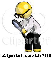 Yellow Doctor Scientist Man Inspecting With Large Magnifying Glass Left