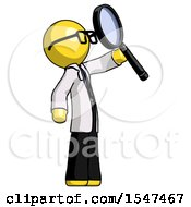 Yellow Doctor Scientist Man Inspecting With Large Magnifying Glass Facing Up