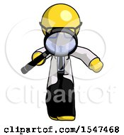Yellow Doctor Scientist Man Looking Down Through Magnifying Glass