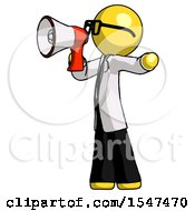 Yellow Doctor Scientist Man Shouting Into Megaphone Bullhorn Facing Left