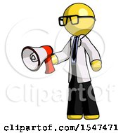 Yellow Doctor Scientist Man Holding Megaphone Bullhorn Facing Right