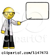 Yellow Doctor Scientist Man Giving Presentation In Front Of Dry Erase Board