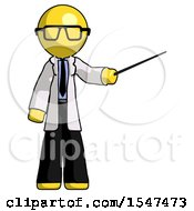 Yellow Doctor Scientist Man Teacher Or Conductor With Stick Or Baton Directing