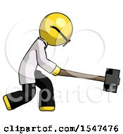 Yellow Doctor Scientist Man Hitting With Sledgehammer Or Smashing Something