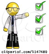 Yellow Doctor Scientist Man Standing By List Of Checkmarks
